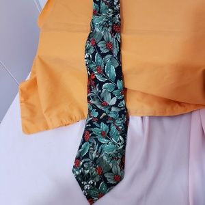 Christmas Themed Silk Tie Black with Holly Berries